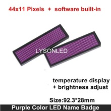 Hot Sale LYSONLED 44x11 Dots Purple Color Huidu Rechargeable Scrolling Led Name Badge , Moving Text Led Name Tag In Commercial(China)