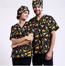 Pet Hospital Clinic Doctor Scrub Suit Printing V-neck Short-sleeve 100%Cotton Fabric Woman & Man Nurse Scrub Top ONLY SHIRT ,J11