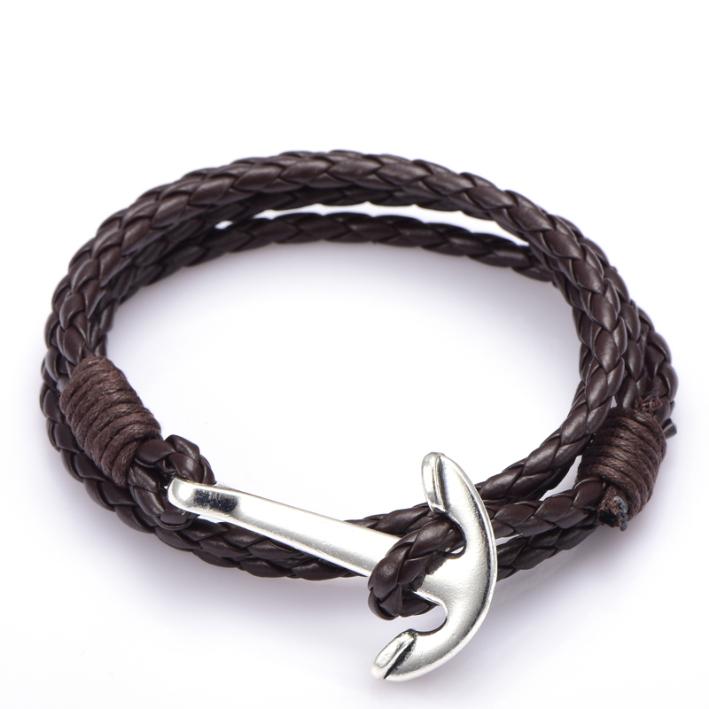 NIUYITID Man Anchor Bracelet 41cm PU Leather Bracelet For Men Women Fashion Wristband Charm Braclet Male Accessories Jewelry (4)