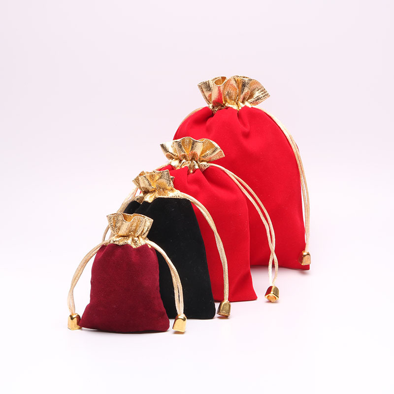 10pcs/lot 7x9cm 9*12cm Gift Bags Wine Red Black Jewelry Packing Inlaid Gold Velvet Beam Port Bags Drawstring Pouches Gift Bags(China (Mainland))