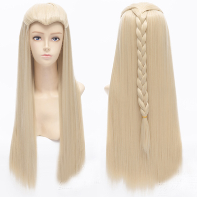 70cm 28inch The Lord of Rings Thranduil Long Straight Platinum Blonde Wig Cosplay With Braid<br><br>Aliexpress