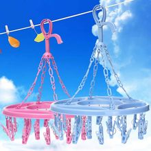 18 Pins Plastic Round Drying Rack Laundry Tools Hanging Sock Clothes Tie Folding Hanger Hook Rack(China)