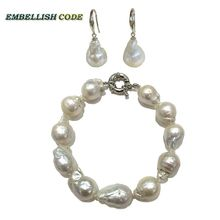 bracelet hook dangle earrings pearl set baroque style Normal size white color nucleated flame ball shape 925 sterling silver