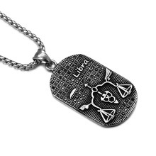 HIP Punk 12 Zodiac Sign Men Libra Charm Necklaces & Pendants Solid Casting Stainless Steel Dog Tags Necklace for Men Jewelry