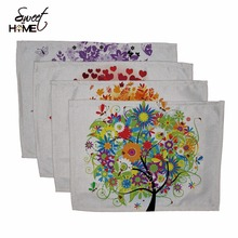 Cotton Linen Colorful Life Tree Drawing Table Dishware Place Mats For Dinner  Accessories Cup Wine mat