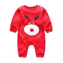 2017 Christmas deer style newborn baby boy girls winter clothes Cotton Long Sleeve Baby Rompers Soft Infant Baby Clothing Set(China)