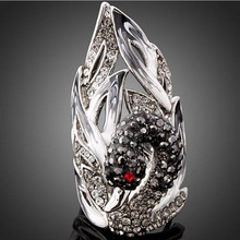 European antique silver retro Handcrafted statement vintage ring jewelry crystal Swan ring bague femme,rings for women