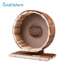 Hamster Running Wheel Natural Living Cute Wooden Chew Toys Exercise Wheel for Hamsters Chinchillas Guinea Pigs small pet toy(China)