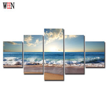Sunrise Beach Modern Sea Wave Canvas Paintings 5Pcs Cuadros Decoracion Vintage Wall Christmas Canvas Pictures For Home Decor