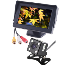 CCD Rear camera +4.3 Inch / 5inch Auto Rearview Parking Monitor 4 LEDS Night Vision Rear View Auto Parking Camera Monitors 2 in1