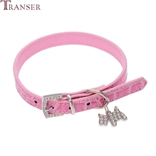 Transer Pet Dog Supplies Adjustable Alligator PU Leather Dog Collar with Diamonds Tag 80124(China)