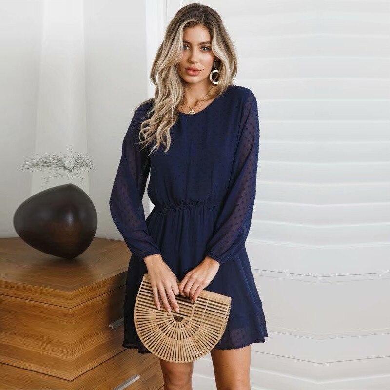 yinlinhe Blue Polka Dot Dress Women Long Sleeve Transparent Elegant Autumn Dress Elasticity Waist Ruffles Mini Vestido 3
