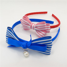 10pcs/lot Stripped Chic Headband Grosgrain Royal Blue Pink Strip Bow Knot Hairband High Quality Fabric Bands for School Girls(China)