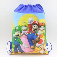 30pcs\lot Blue super mario theme non-woven drawstring gift bags birthday party set gifts swim school backpacks baby shower decor(China)