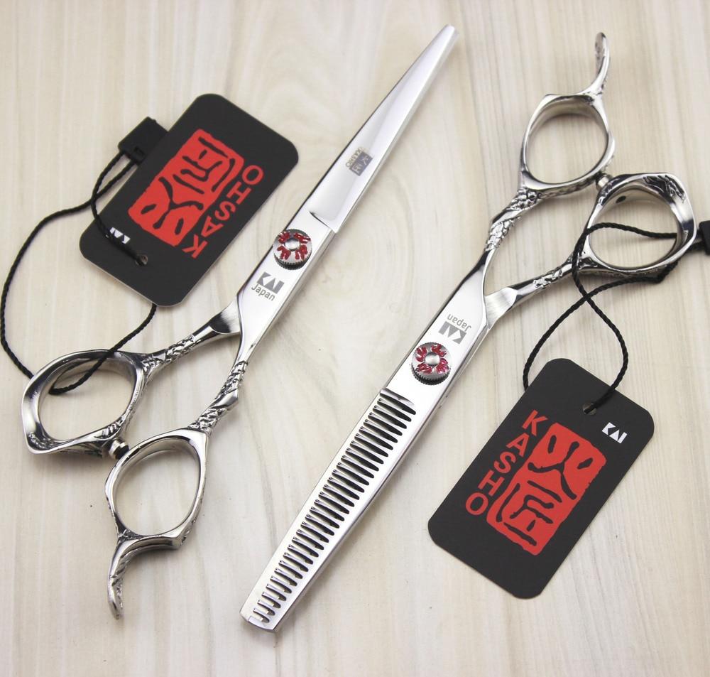 Free shipping 2pcs/set 6.0 inch flame KASHO hairdressing dragons handle handle scissors barber scissors flat cut teeth cut bangs<br>