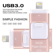 USB FLASH Drive 3.0 For iPhone 6, 6 Plus ,7 ,5 5S ipad Metal Pen drive HD memory stick Otg Micro for IOS9/IOS10 16GB 32GB 64GB
