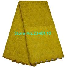 2017 100% Cotton latest african swiss voile Rhinestones lace high quality nigerian Yellow color  lace fabrics for wedding dress