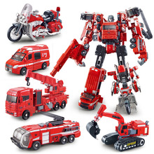 Robots Action Figure Toys ABS&Alloy An Excavator/Elevator Model New Year &Christmas gift Deformation Movie 4(China)