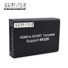 SSRIVER HDMI to SCART Video Stereo Audio Converter Adapter Support 4Kx2K Input Video Systems NTSC/PAL for PS3/4 DVD Set-Top-Box