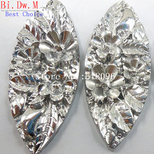 Unique Resin Rhinestones Navette Boat shape 19x48mm Silver Color Sew On Stones and Crystals Strass Crystal Accessories Crafts(China)