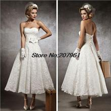 2016 vestido de noiva curto white&Ivory A-line Lace Bridal Gowns Ankle-Length Wedding Dresses 2016 New Arrival SW024