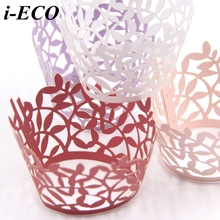 12PCS Lace Paper Wrap Cupcake Wrapper Baking Cup Little Vine Lace Laser Wedding Favors Kids Birthday Party Decoration(China)