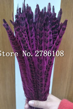 Wholesale 100pcs beautiful pheasant feather Femail Pheasant Tail Feather Rose Red  30-35cm12-14 inch wedding decorate