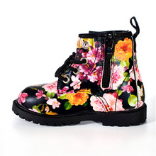 2017 Fashion Printing Children Shoes Girls Boots PU Leather Cute Baby Boots Comfy Ankle Kids Girl Martin Shoes Size 21-30(China)
