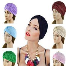 Holiday sale Stretchy Turban Head Wrap Band Sleep Hat Women India Caps Scarf Hat Ear Cap 14 Colors