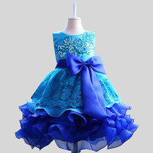 Children Girls Princess Dress Lush Formal Prom Party Ball Gown Little Bridesmaid Wedding Girl Baby Kids Girls Dresses(China)