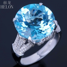 HELON Solid 14K White Gold 14mm Round 11.2ct Sky Blue Topaz 0.5ct Real Diamonds Engagement Wedding Gemstone Unique Gorgeous Ring(China)