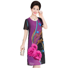 WAEOLSA Woman Flower Chiffon Dress Red Purple Green Silk One Piece Summer Middle Aged Women's Straight Robe Femme Romantic Dress