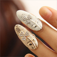New Hot ! Fashion Fine Jewelry Gold Color Personality Rhinestone Clover Wedding Fingernail Rings For Women Ladies' gifts R-50