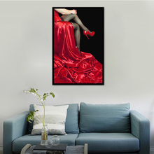 Sexy Red Long Dress Women Diamond Painting Embroidery Beaded Cross Stitch Red High Heel Shoes Embroidery Painting
