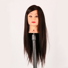 "26"" Hair Hairdressing Training Head Model Mannequin Salon Practice Manikin Training Wig With Holder Doll Heads 35% Animal Hair(China)"