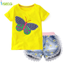 Baby Girls short clothing sets t shirt Shorts Jeans Lace Demin Short Pants summer children suit Bow Printed Kids Clothes(China)