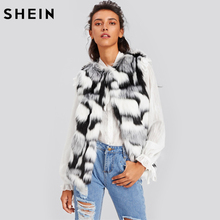 SHEIN Sleeveless Womens Vest Colorful Faux Fur Vest Black and White Casual Collarless Autumn Winter Vests for Women(China)