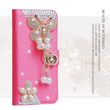 For BlackBerry Priv Q30 DTEK50 DTEK60 Deluxe Fashion Woman Lady Pearl Butterfly Diamond Flower Pu Leather Wallet Case(China)