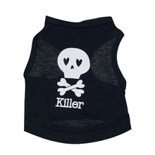 Small Dog Shirt, New Fashion Puppy Summer Cotton Skull Bones Quote T-Shirt Small Dog Cat Pet Clothes Vest Shirt