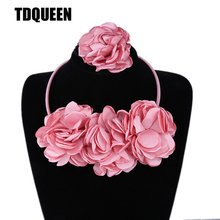 TDQUEEN Flower Necklace Set Elastic Hair Band Bracelet For Woman Pink Color Wedding Party Costume Accessories Bridal Jewelry Set