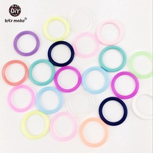 Let's Make 20pc Silicone Teether O Ring Baby Pacifier Clip DIY Crafts Mix Color Round Circle Baby Teether General Supplies