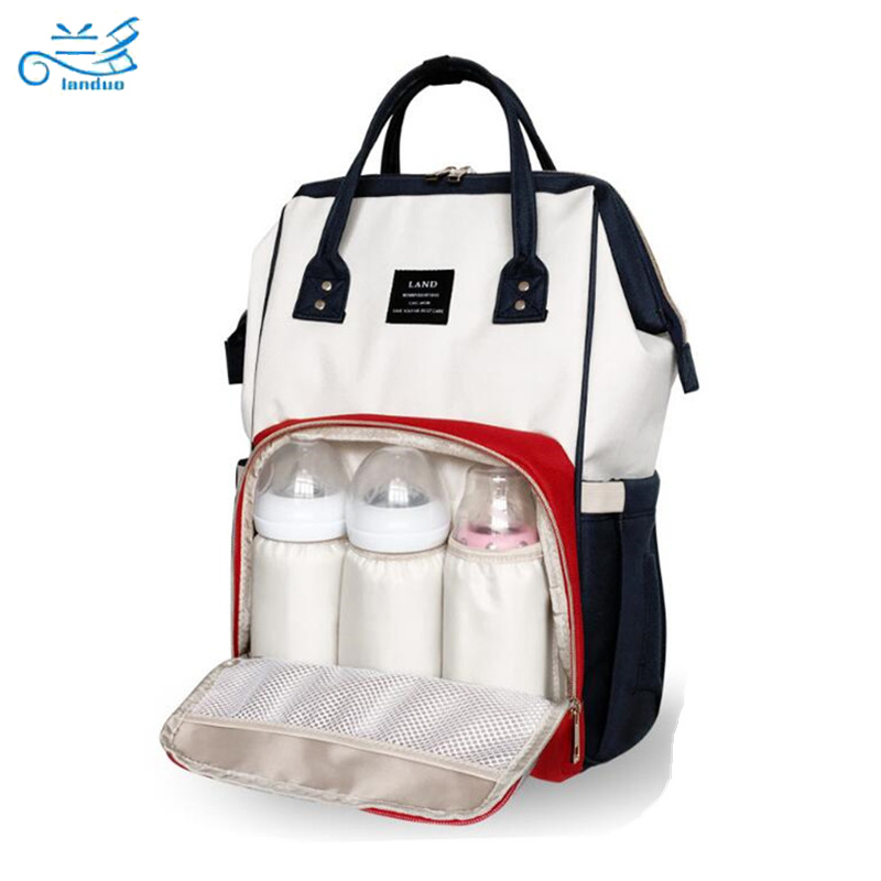 LAND Nappy Bags Big Capacity Baby Diaper Bag Waterproof Baby Care Nappy Changing Bag Fashion Mother Backpack for Travel<br>