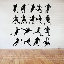 Energetic 18 Pcs Soccer Football Players Wall Art Wall Stickers Removable Vinyl Decal Home Decoration Wall Mural Wallpaper(China)