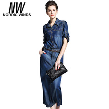 Nordic Winds Denim Dress Womens Clothing China Big Discount Autumn Casual Cowboy Blue Midi Jeans Dresses Free Shipping Canada(China)