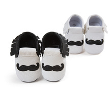 Free Shipping Leather Baby Shoes Black Mustache Tassel Baby Shoes Moccasins Boy Girl Toddler Shoes Newborn Babies First Walkers