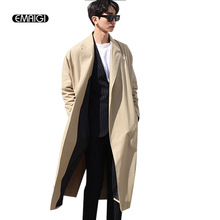 Gentleman british style new autumn man trench coat loose long coat male spring fashion casual cape cloak belt outerwear A49