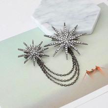 New Exaggerated Rhinestones tassel Chain Brooches Snowflake collar needles Scarf buckle Women jewelry wholesale