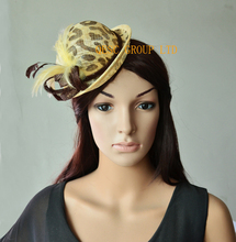 NEW Leopard print mini hat feather fascinator for tea party.FREE SHIPPING