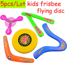 5 piece/lot ABS safety soft kids child Frisbee UFO Boomerang flying toys saucer Disk Disc outdoor sports(China)