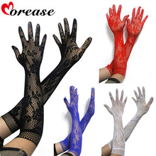 Buy Morease Adult game Sexy transparent lace elastic gloves Long-sleeve mesh bdsm erotic fetish bondage harness brinquedos sexuais